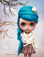 Cream leather exterior (pure_embers) Tags: pure embers blythe doll dolls laura england uk custom sammydoe tan briar embersbriar takara neo teal hair alpaca reroot girl photography chen bopallen cream leather jacket tree plait
