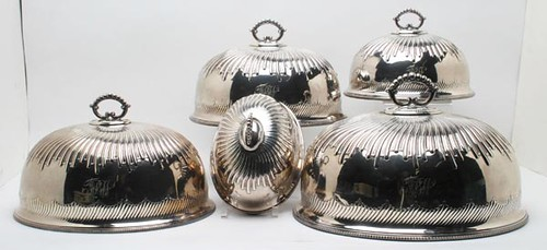 "Graduated Meat Dome Covers, Set of Five ($840.00): Matched set, hall marked ""W. H."" for William Hutton & Sons, Sheffield, England. Mr. Yount's note states the domes came from Perle Mesta, a famous Washington, D.C. hostess."