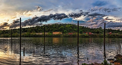 IMG_8468-69Ptzl1scTBbLGER (ultravivid imaging) Tags: ultravividimaging ultra vivid imaging ultravivid colorful canon canon5dmk2 clouds sunsetclouds stormclouds sunset spring evening vista scenic pennsylvania pa panoramic river reflections rainyday