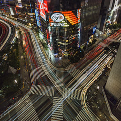 GINZA CROSSING (B Lucava) Tags: tokyo ginza city cityscape night lighttrail zebracrossing urban busy fujiya sukiyabashi yurakucho