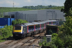 """First Great Western 43040 """"Bristol St Philip's Marsh"""" (with 43032) Patchway Jn.  27th May 2017 (Ajax46.) Tags: firstgreatwestern patchway 43040 bristolstphilipsmarsh 27thmay2017 1l711429swanseatolondonpaddington 43032leading"""