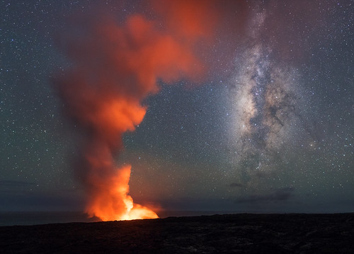 "Lava Plume & Milky Way • <a style=""font-size:0.8em;"" href=""http://www.flickr.com/photos/82671297@N04/34870961961/"" target=""_blank"">View on Flickr</a>"