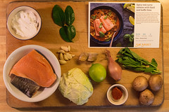 Mise en place: Sun Basket spicy red curry salmon with basil and kaffir lime