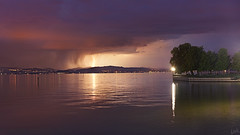 Lightning at the Other Side of the Lake (johaennesy) Tags: lightning storm thunderstorm bodensee lakeconstance blitz friedrichshafen sony sonyalpha a580 35mm night nightphotography weather opensourcesoftware gimp rawtherapee