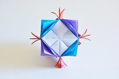 Armored Blooming Curls Cube (Byriah Loper) (Byriah Loper) Tags: origami modularorigami modular origamimodular byriahloper byriah paperfolding paper polyhedron polygon kusudama