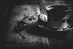 Making Time.... (DefinitelyDreaming) Tags: lensbaby stilllife twist60 dark moody bw blackwhite watch pocketwatch oldwatch teacup coffee