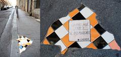 Mosaic installation on pavement by Ememem Lyon, France] (biphop) Tags: europe france lyon croixrousse streetart pavement trottoir mosaic mosaique installation ememem carrelage