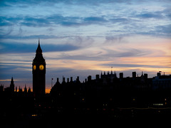 Westminster at Twilight (Fun@365) Tags: westminster london slowshutter night sunset sky light clock time olympusomd clouds skyline orange