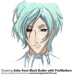 Ashe from Black Butler with ProMarkers [Speed Drawing] (drawingtutorials101.com) Tags: ashe black butler kuroshitsuji japanese manga yana toboso promarkers promarker alcohol markers marker coloring color colors how draw timelapse video drarw time lapse timelapsevideo