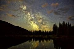 Milky Way Core Dark Horse Nebula (John Andersen (JPAndersen images)) Tags: alberta arc aurora canada canon6d clouds core darkhorse forgetmenotpond galaxy kananaskis milkyway night purple silhouettes stitch trees