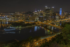 Pittsburgh Cityscape (johngoucher) Tags: approved night river skyline cityscape pittsburgh pennsylvania mtwashington threerivers goldentriangle duquesneincline rivers allegheny monongahela ohio sonyimages sonyalpha bridges pointstatepark steelcity rokinon 12mm samyang