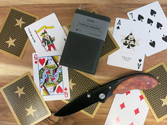 5 Star Gold (CapCase) Tags: cards deckofcards playingcards radio knife folder pocketknife cutlery ace aceofspades queenofhearts joker pocketradio kaito blackwidow 5star