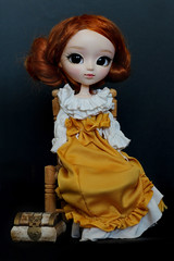 She's sick and tired of that treasure chest (Virvatulia) Tags: pullip mio makeitown custompullip pullipcustom full custom fc ooak red carrot hair wig yellow white dress sitting doll portrait treasure chest