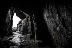 Black, White and a Little Green (matiasrquiroga) Tags: cave tunnel machu picchu huayna peru travel south america tunel cueva stone piedra texture textura blanco y negro black white