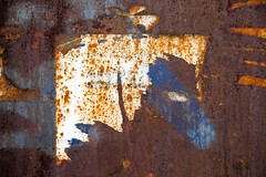 Aporie (Gerard Hermand) Tags: 1705238414 gerardhermand france paris canon eos5dmarkii formatpaysage melun plaque sheet metal rouille rust papier paper abstrait abstract abstraction bleu blue blanc white