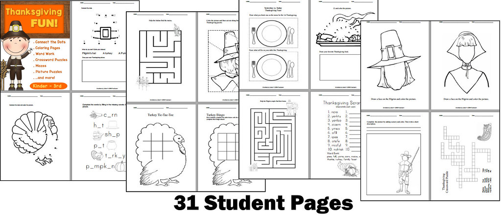 CHSH Teach Tags Thanksgiving Games Puzzles Worksheets Kindergarten 1stgrade