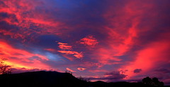 The PAINTED SKY from my WINDOW (Lani Elliott) Tags: nature naturephotography lanielliott sky skies cloud clouds mountain mountwellington sunset color colour colourful vibrant spectacular stunning paintedsky australia tasmania pink blue bright light wow gorgeous