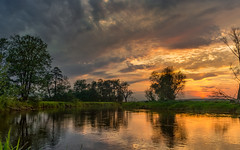 Spring changes 3 (piotrekfil) Tags: landscape sunset twilight dusk water river reflections sky clouds pentax poland piotrfil