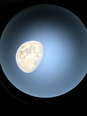 """The Moon Through the """"I"""" of a Phone (Mac Girl) Tags: evening refractor iphone7 moon"""