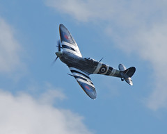 'Framed' by clouds ..... (Halliwell_Michael ## Offline mostlyl ##) Tags: brighouse westyorkshire brighouse1940swe brighouse1940sweekend nikond40x 2017 aircraft airplane spitfire blue clouds battleofbritainmemorialflight 6