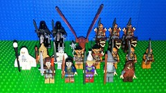 Middle Earth Factions (Mana Montana) Tags: lego minifigure army toy thelordoftherings lotr thehobbit ringwraith orc aragorn gimli bard dwarf eagle gandalf wizard saruman