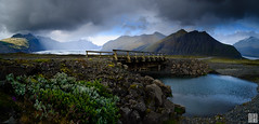 adventure in twilight (gregor H) Tags: austurland island is skaftafell national park dark glacier skaftafellsjökull vacation summer trip adventure bridge pond