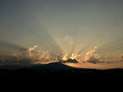 Sunset Summer (jasohill) Tags: adventure matsuo iwate town ricepaddy crepuscular ray mountain clouds walk light landscape sky japan 2017 hachimantai life sunsets summer