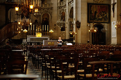 An opera rehearsal in the church. (Kent Johnson) Tags: paroissesaintpaulsaintlouis paris france church 1600logoadjcesef4542 singer opera rehearsal église marais fujifilmxt1 xf35mmf14r travel music