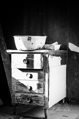 Time to Wash Up (Karl Outdoor Photography) Tags: cabinet abandoned old alberta history washbasin blackandwhite worn dilapidated dresser