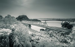 Hàm Rồng Bridge (=Heo Ngốc=) Tags: vietnam vietnamwar war sky river bridge historicalsite blackandwhite bw ir trees stone moutain clouds longexposure history old viêtnam