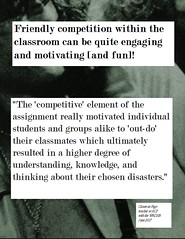 """Educational Postcard:  """"The 'competitive' element ....ultimately resulted in a higher degree of understanding, knowledge, and thinking...."""" (Ken Whytock) Tags: competitive element assignment motivated individual students groups classmaes ultimately higherdegree understanding knowledge thinking"""