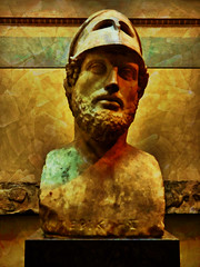 Perikles, Citizen and Soldier (Steve Taylor (Photography)) Tags: perikles citizen soldier britishmuseum art digital sculpture bust carving green red orange yellow uk gb england greatbritain london unitedkingdom museum texture