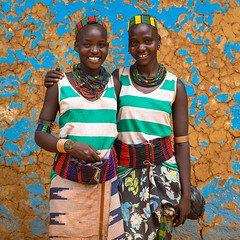 Hamer tribe young women smiling, Omo valley, Dimeka, Ethiopia (Eric Lafforgue) Tags: africa beaded beads beautiful beauty belt blackpeople candid colorful culture developingcountry dimeka eastafrica ethiopia ethiopia0617319 ethiopian ethiopianethnicity female haircut hairstyle hamar hamer headwear hornofafrica indigenousculture jewel jewelry lookingatcamera necklaces omovalley portrait smiling southernethiopia square traditionalclothing tribal tribe tribeswomen truepeople turmi twopeople waistup womenonly youngadults et