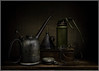 Old stuff ... (Ed Phillips 01) Tags: light painting sculpting still life style harold ross oil cans watch glasses old antique vintage explored