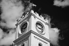 South Park (Preston Ashton) Tags: south park darlington prestonashton bw monochrome sun sunshine clock face tower clouds