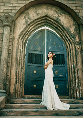 Lonely bride (Sài gòn-01665 374 974) Tags: snor sony sigma photography photographer flickr digital new featured light art life colorful colour colours photoshop blend asia camera sweet lens artist amazing bokeh dof depthoffield blur 35mm portrait beauty pretty people woman girl lady person bride lonely castle gate dress white beautiful
