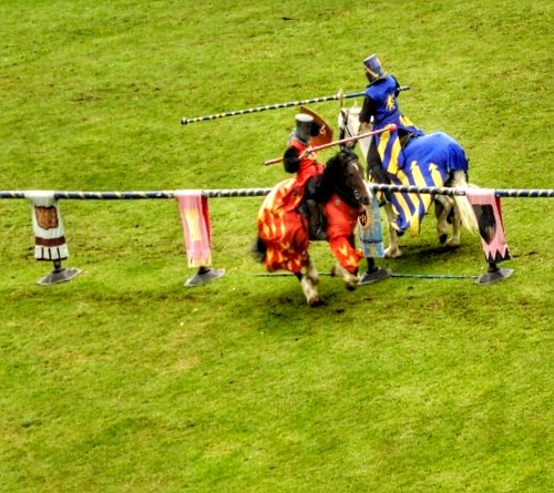 Knights jousting.