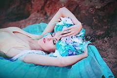 Fairy Slumber (Kelly McCarthy Photography) Tags: woman model beautiful beauty portrait portraiture slumber sleep relaxation blonde blue teal purple gold bodysuit catchycolorsblue golden headdress floral flowers fairy maiden fashion style fairytale pose outdoors makeup