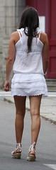 364 (SadCire) Tags: woman female frau femme mujer girl teen thigh shoulder brown calves legs miniskirt minidress skirt dress heels wedges street candid sexy