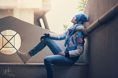 "Highness Cosplay as Aoba Seragaki - from Dramatical Murders - by SpirosK photography: the ""grey"" portraits (SpirosK photography) Tags: highnesscosplay aobaseragaki dramaticalmurder spiroskphotography white portrait crossplay rule63 grey"
