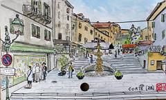 La France des Sous-Préfectures 2B (chando*) Tags: aquarelle watercolor croquis sketch france