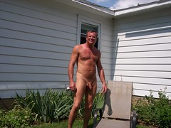 Nude in backyard of Grafton house 07-02-2013 (fredallen3) Tags: naked nude nudist man me male outdoors