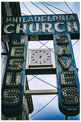 Jesus Is A Hoarder (swanksalot) Tags: philadelphia church jesus saves hoarder neon sign andersonville chicago clark philadelphiachurch vintage clock notime tweeted