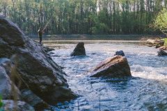 (Ronronner) Tags: fisherman river nature blue water hungary boy fishing forest calmness green