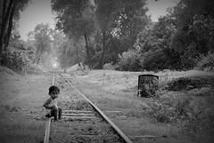 Wildflower (Rahul Gaywala) Tags: boy crossing forest girl innocent kid monochrome black white bw bnw whiteblack blackwhite track train village