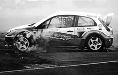 Screech to a halt ! (Wilamoyo) Tags: croftmotorcircuit car sport smoke crash skid bw monochrome mono track race motorsport auto transport wheels spin road asphalt