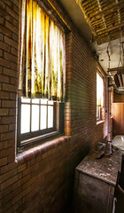 Classy Drapes (trainmann1) Tags: transalleghenylunaticasylum westonstatehospital statehospital hospital asylum insane insaneasylum weston westvirginia wv summer june 2017 creepy abandoned neglected rusty crusty rust crust building nikon d90 tokina 1116mm amateur handheld nikond90 interior inside paint peel paintpeel window windows curtain tiles medicalbuilding medical scary eerie