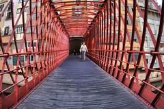 Pedestrian (CJS*64) Tags: girona fisheye bridge spain nikon nikkorlens nikkor cjs64 craigsunter cjs city distortion distort pedestrian walk nikon1 nikonj5