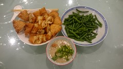 Roast duck and roast pork porridge, green beans, Chinese doughnuts AUD8 from Mr Kitchen, Russell Street, Melbourne (avlxyz) Tags: fb porridge 油条 咸煎饼 chinesedoughnut leftovers dinnerathome