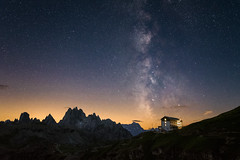 nautical dawn (nils_P) Tags: night sky stars milkyway galaxy hut mountains rocks alps nature awesome dawn world explore